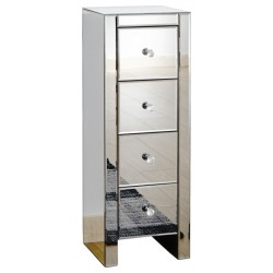 MIRRORED 4 DRAWER SLIM CHEST CLEAR GLASS