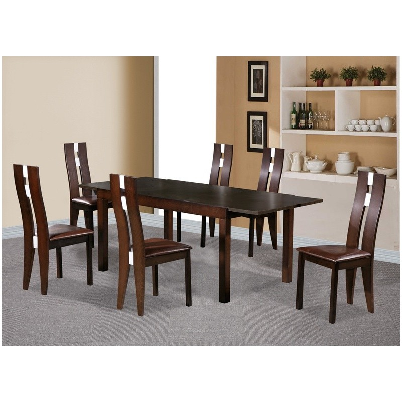 Baltic Dining Set With 6 Solid Beech Chairs Dark Walnut. Loading Zoom