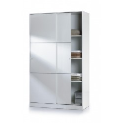 Arctic Sliding Wardrobe with Shelves High Shine White 120
