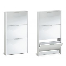 Arctic Shoe Cabinet 3 Doors High Shine White