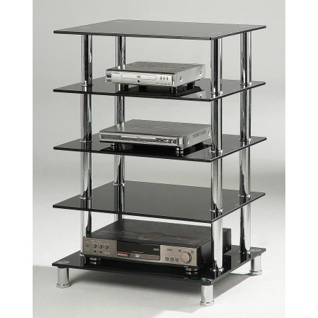 Hudson Black Hifi Unit 5 Shelves