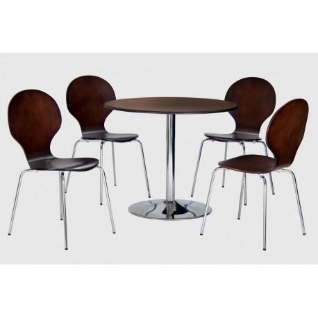 Fiji Round Pedestal Dining Set with 4 Round Chairs Walnut