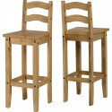 Corona Bar Chair (Pair) in Distressed Waxed Pine