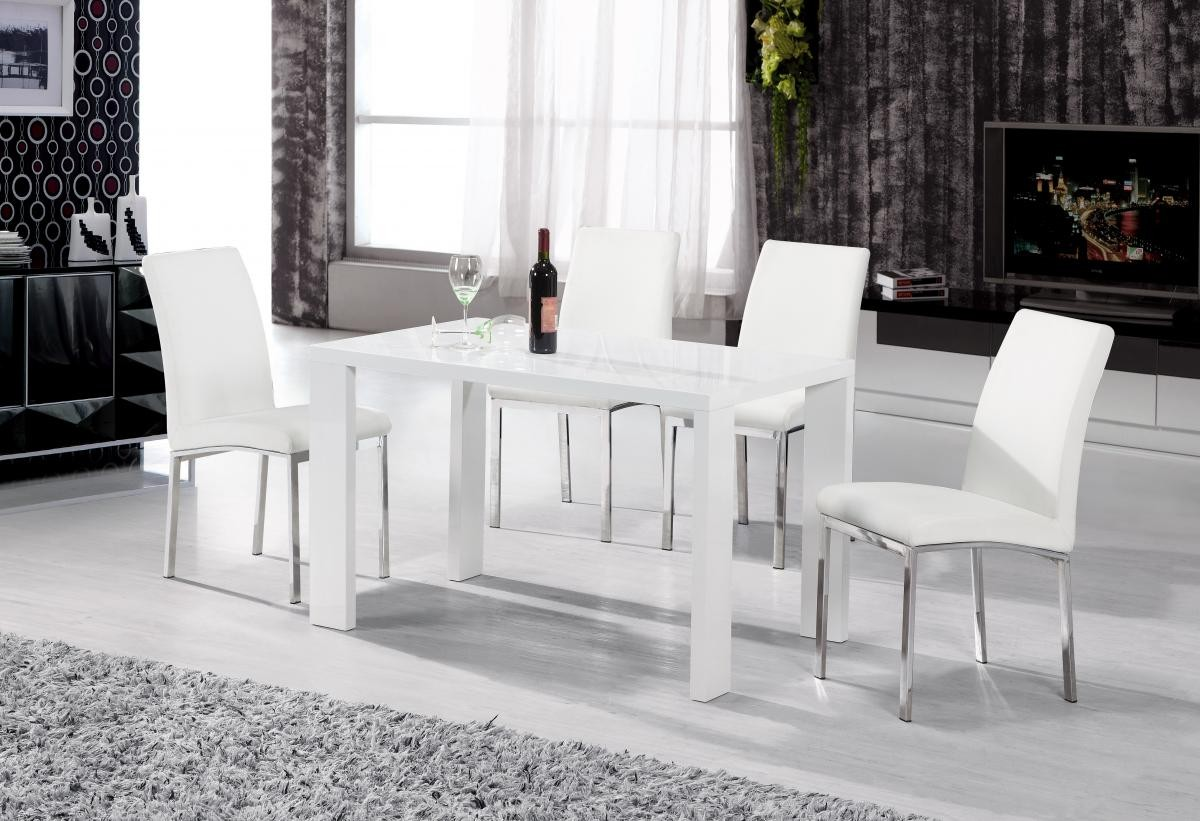 Peru Dining Table White High Gloss 4 Chairs-Brixton Beds