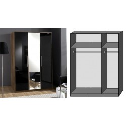 Milano 3 Doors Gloss Wardrobe Black & Walnut