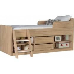 Felix Low Sleeper Metal Bed Frame Sonoma Oak Effect Veneer