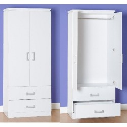 Charles 2 Door 2 Drawer Wardrobe MDF Drawer Base White