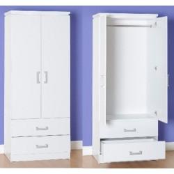 Charles 2 Door 2 Drawer Wardrobe MDF Drawer Base White