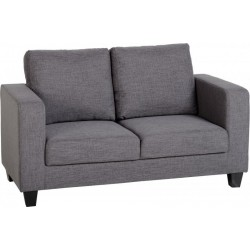 Tempo Two Seater Box Sofa in Grey Fabric