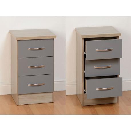 Nevada 3 Drawer Bedside in Grey Gloss/Light Oak Effect Veneer