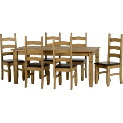 Corona 6' Dining Set in Distressed Waxed Pine/Brown Faux Leather