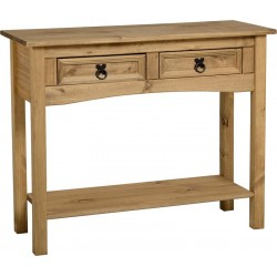 Corona 2 Drawer Console Table with Shelf in Distressed Waxed Pine