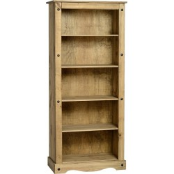 Corona Tall Bookcase in Distressed Waxed Pine