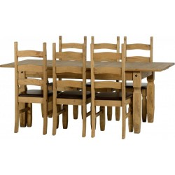 Corona Extending Dining Set (1+6) in Distressed Waxed Pine/Brown Faux Leather