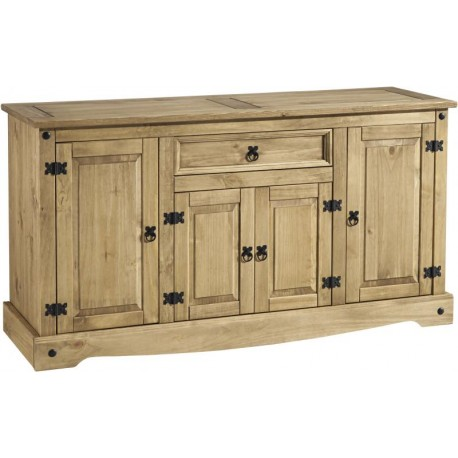 Corona 4 Door 1 Drawer Sideboard in Distressed Waxed Pine