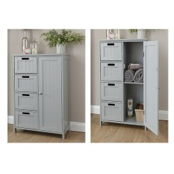 COLONIAL 4 Drawer / 1 Door Bathroom Unit In Grey