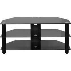 Bromley TV Stand in Black Glass/Black