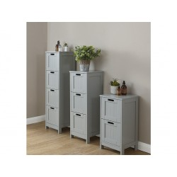 COLONIAL 4 DRAWER SLIM CHEST IN GREY