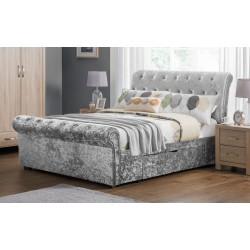 Verona 2 Drawer Storage (5ft-150cm) Bed Frame Silver In King Size