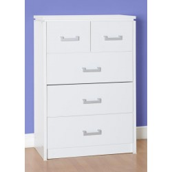 Charles 3+2 Drawer Chest in White