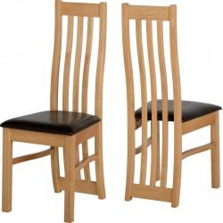 Ainsley Chair in Oak Veneer/Brown Faux Leather