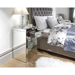 VENETIAN 1 DRAWER BEDSIDE REFLECTIVE MIRRORED FINISH