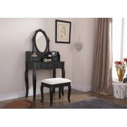 LUMBERTON Dressing Table & Stool Set In Black