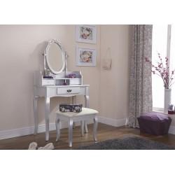 LUMBERTON Dressing Table & Stool Set In Silver