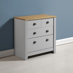 Ludlow 2+2 Drawer Chest in Grey/Oak Lacquer