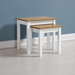 Ludlow Nest of Tables in White/Oak Lacquer