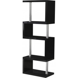 Charisma 5 Shelf Unit in Black Gloss/Chrome