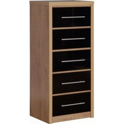 Seville 5 Drawer Narrow Chest in Light Oak Effect Veneer/Black High Gloss