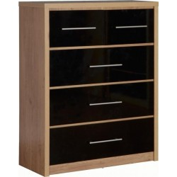 Seville 3+ 2 Drawer Chest in Black High Gloss