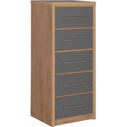 seville-5-drawer-narrow-chest-grey-high-gloss