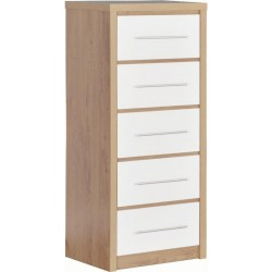 Seville 5 Drawer Narrow Chest in /White High Gloss