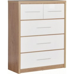 Seville 3+2 Drawer Chest in White High Gloss -