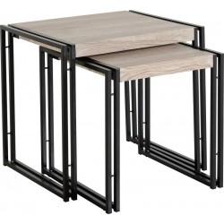 Warwick Nest of 2 Tables in Oak Effect Veneer/Black