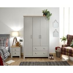 LANCASTER 3 Door 2 Drawer Wardrobe Grey
