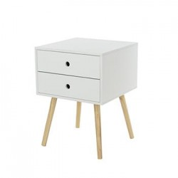 Scandia, 1 Drawer & Wood Legs Bedside Cabinet