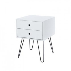 Telford, white & Metal 2 Drawer Bedside Cabinet