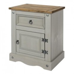Corona Grey 1 Door, 1 Drawer Bedside Cabinet