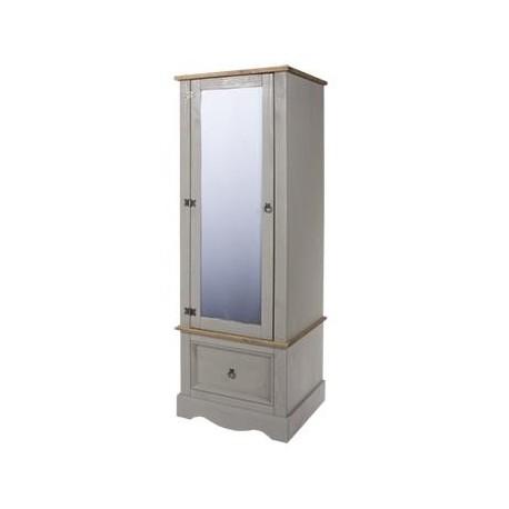 Corona Grey Armoire with Mirrored Door