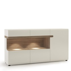 Chelsea Living 3 Door Glazed Sideboard in white with an Truffle Oak Trim