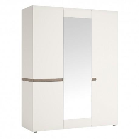Chelsea Bedroom 3 door Robe with Mirror in white with Truffle Oak Trim