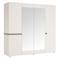 Chelsea Bedroom 4 Door wardrobe with mirrors in white with Truffle Oak Trim