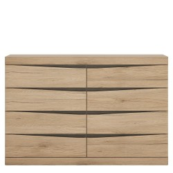 Kensington 4 + 4 Wide Chest of Drawers in Oak.