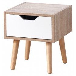 STOCKHOLM 1 DRAWER NIGHTSTAND IN WHITE/OAK