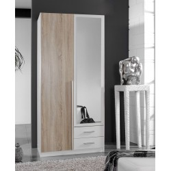 Artic White and Oak effect 2 Door / 2 Drawer Wardrobe