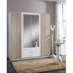 Artic White and Oak Effect 4 Door / 2 Drawer Wardrobe