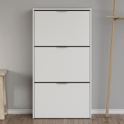 Brilo Matt White 3 Drawer Shoe Cabinet